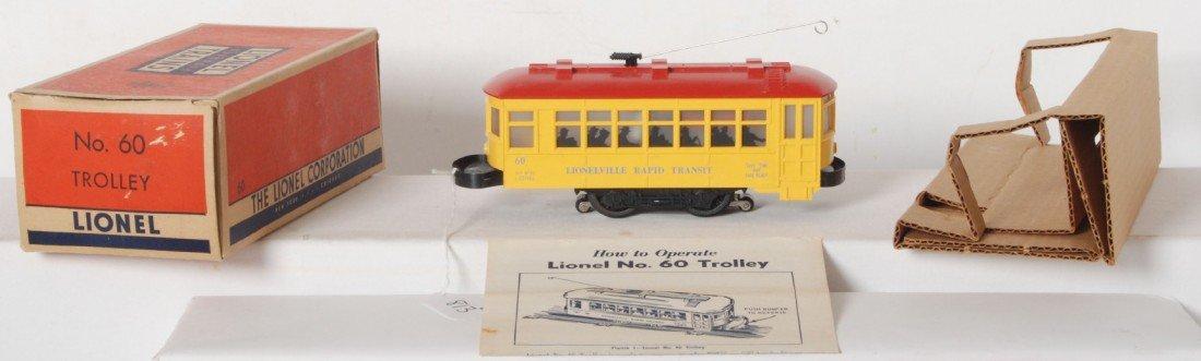 813: Lionel 60 blue letter two piece bumper trolley in