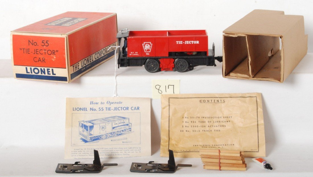 817: Lionel No. 55 tie-jector car in OB w/insert...