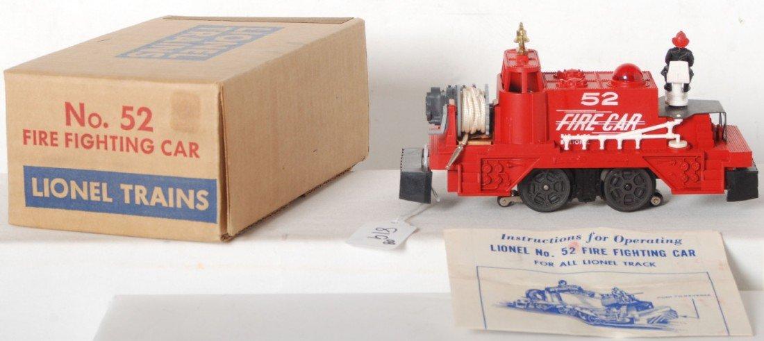 819: Lionel No. 52 fire fighting car in OB w/insert, in