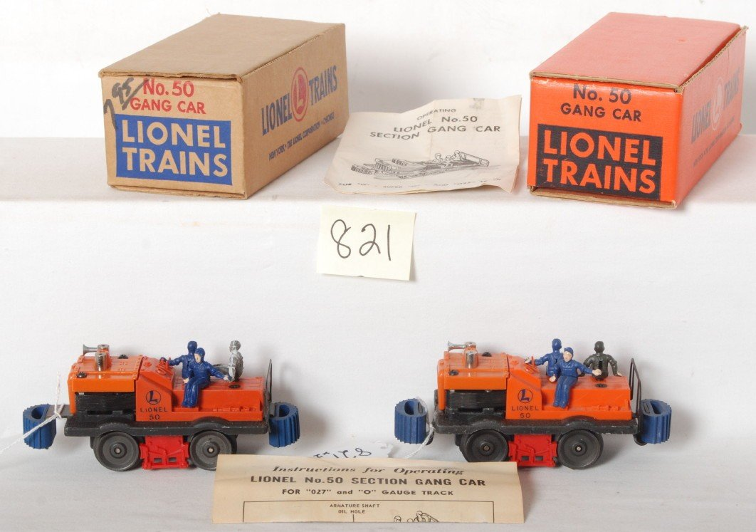 821: Two Lionel No. 50 gang cars in OB w/instructions