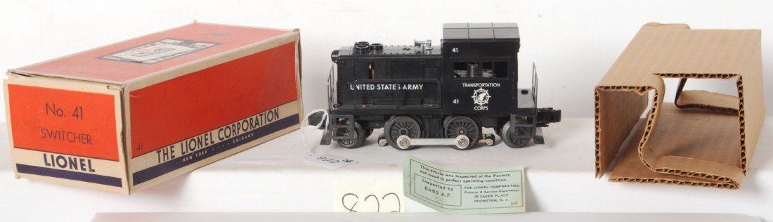 822: Lionel No. 41 U.S. Army switcher in OB w/insert...
