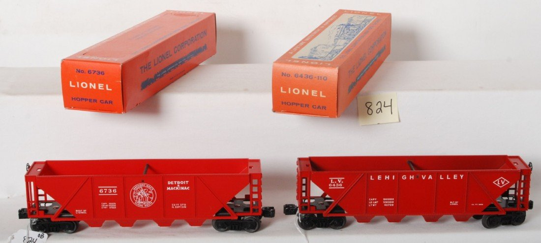 824: Lionel 6436-110 and 6736 red hoppers in OB