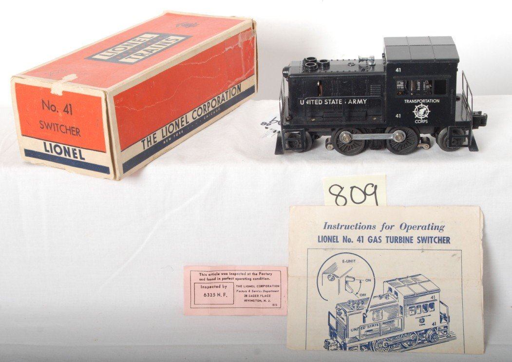 809: Lionel No. 41 Army industrial switcher in OB w/ins