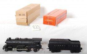 820: Lionel No. 246 loco and No. 1130T tender in OB