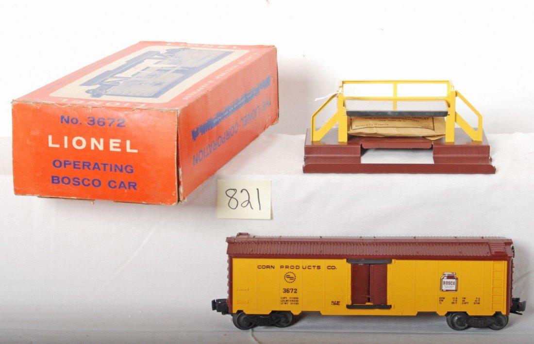 821: Lionel No. 3672 operating Bosco car in OB, unrun