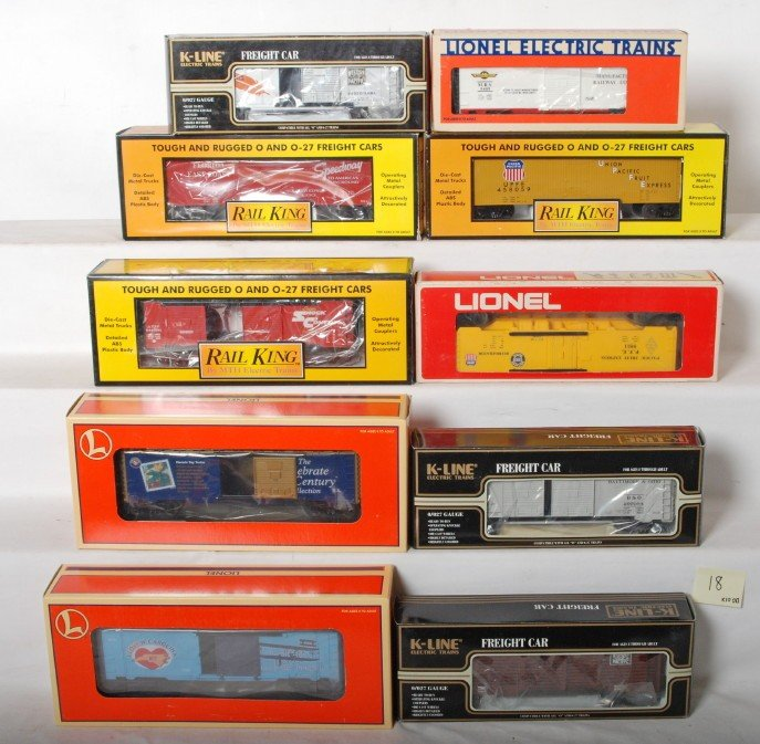 18: 10 Lionel, K Line, and Railking freight cars 26214,