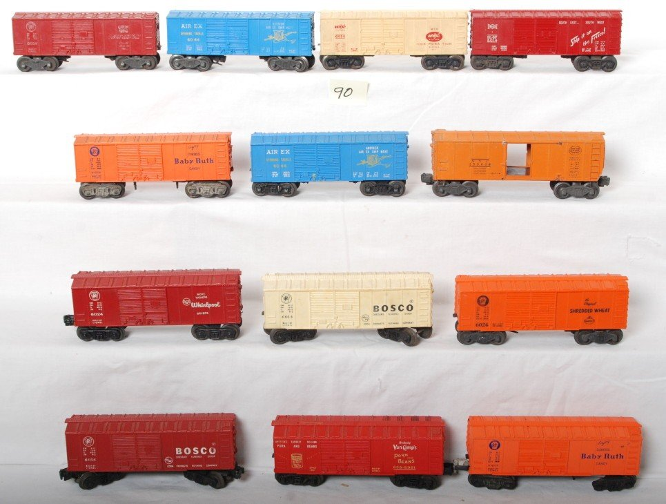 90: Lot of thirteen Lionel boxcars, 6454, 6024, 6014...