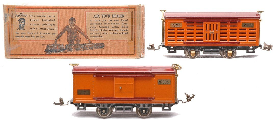 1: Lionel Terra Cotta 805 Boxcar 806 Cattle Car