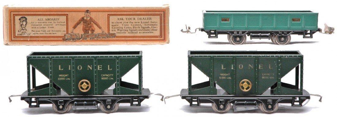 2: Lionel two 803 Dk. Gr. Hoppers 902 Gondola LN