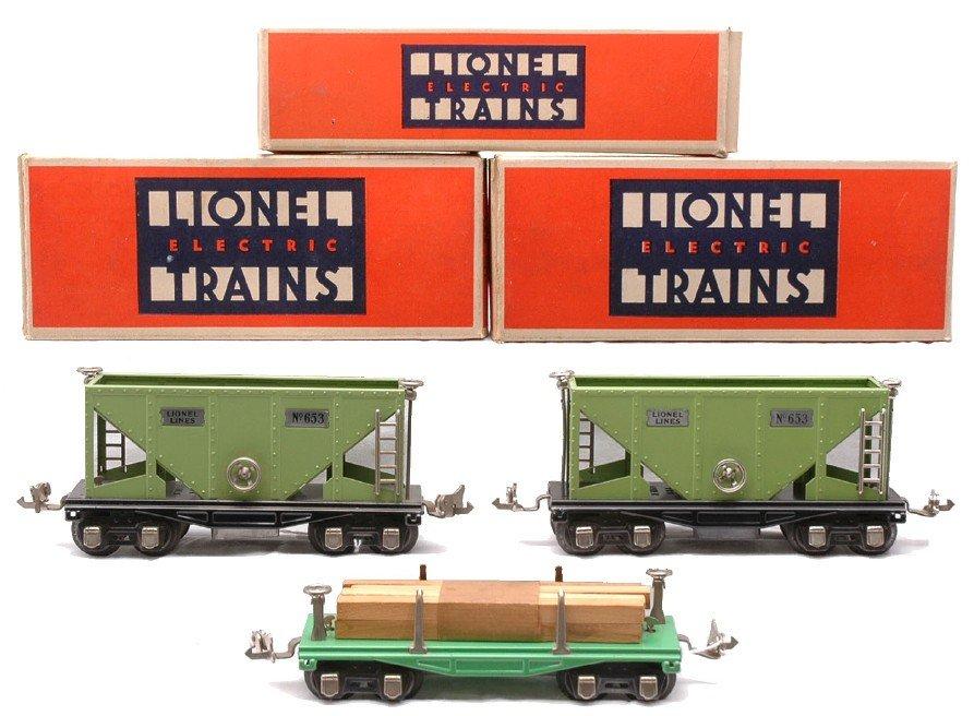 4: Lionel 651 Flatcar w/Lumber 2-653 Hopper LN OBs