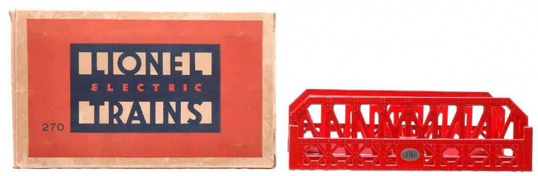 6: Lionel 270 Red Single Span Bridge w/Nickel Plate