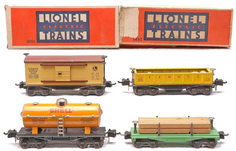 9: Lionel Freight Cars 2655 3652 OBs 2654 2654
