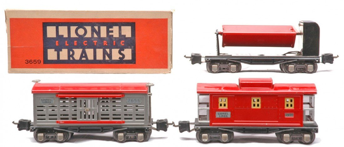 13: Lionel Freight Cars 3659 OB 3656 2657