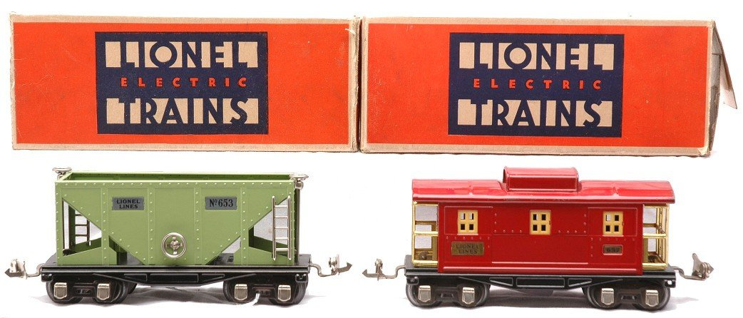 15: Lionel 653 Apple Green Hopper 657 Red Caboose OBs