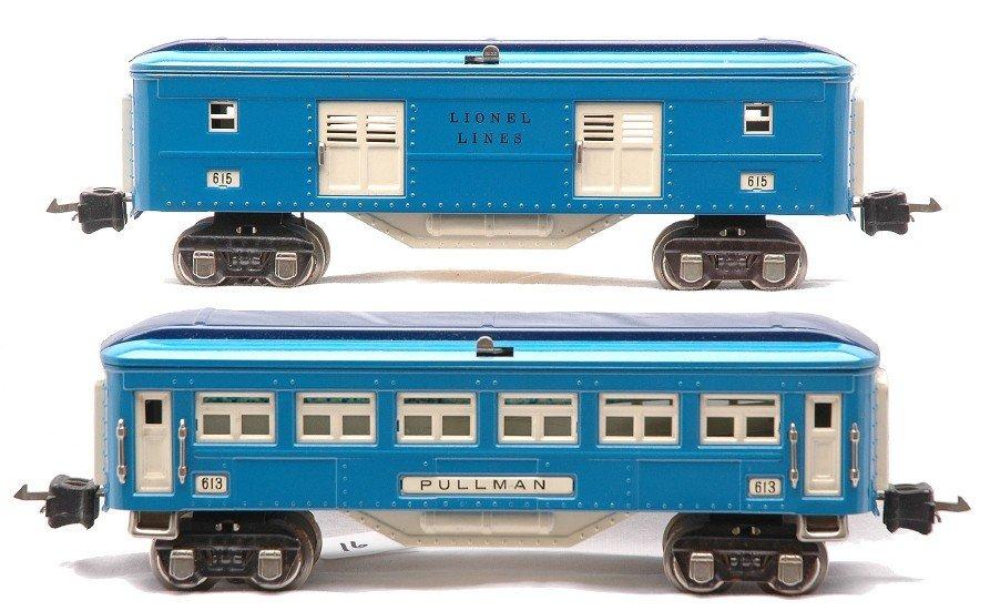 16: Lionel Blue Comet Passenger Cars 615 613