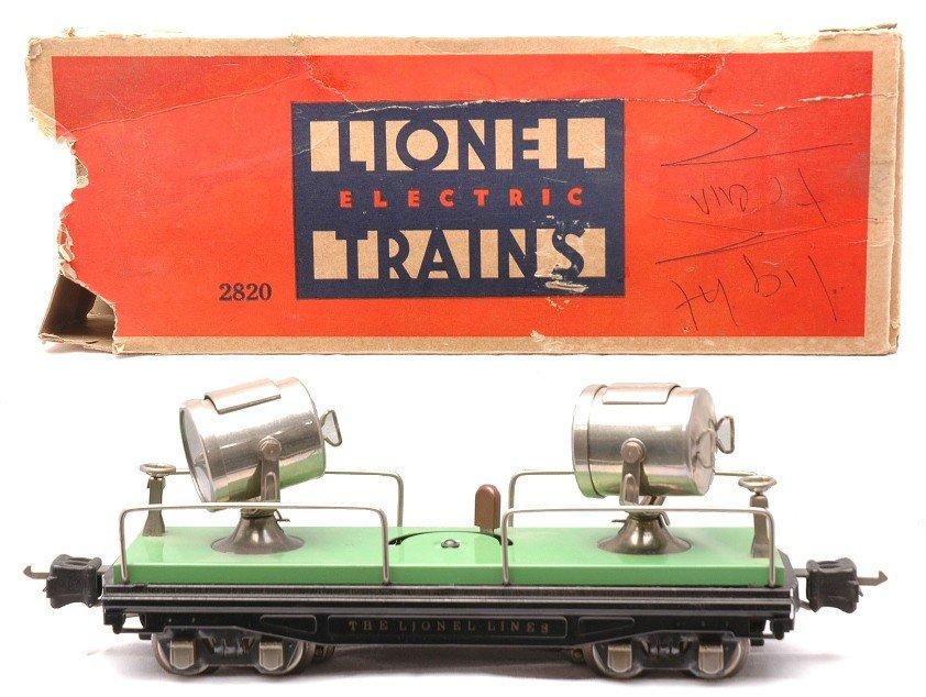 23: Lionel 2820 Green Floodlight Car w/Nickel Trim OB
