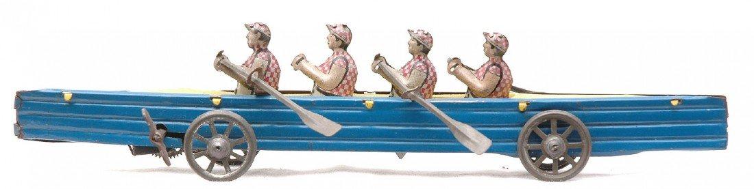 319: Vintage Penny Toy Tin Litho Windup Boat w/Oarsmen