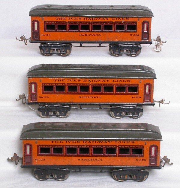 5: Ives Prewar O gauge orange pass. cars 129 x 3