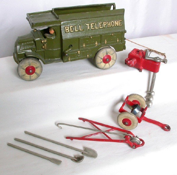 16: Hubley Bell Telephone Truck w/ Auger, etc