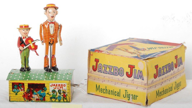 803: Linemar Toys Jazzbo Jim Mechanical Jigger in OB