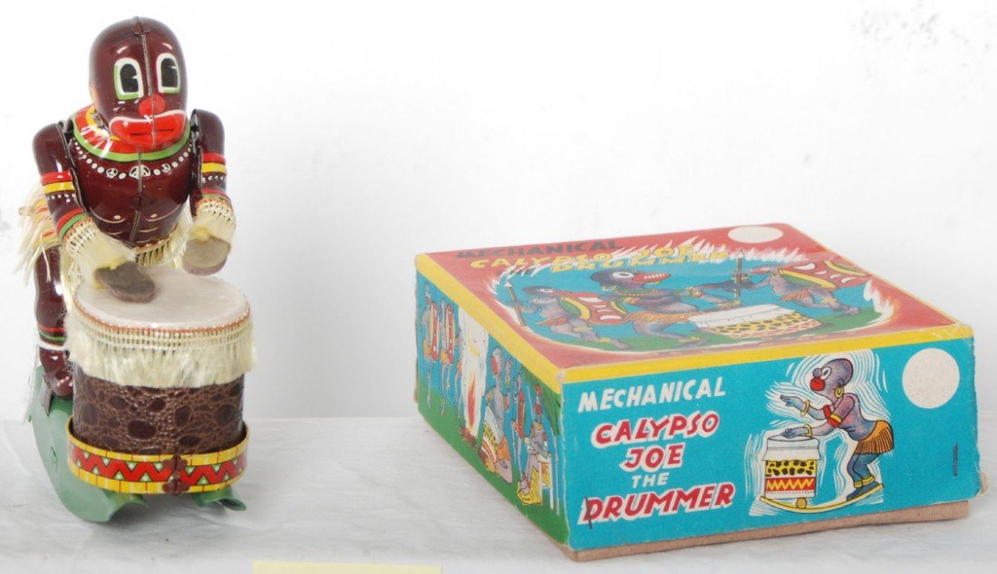 805: Mechanical Calypso Joe the Drummer toy in OB