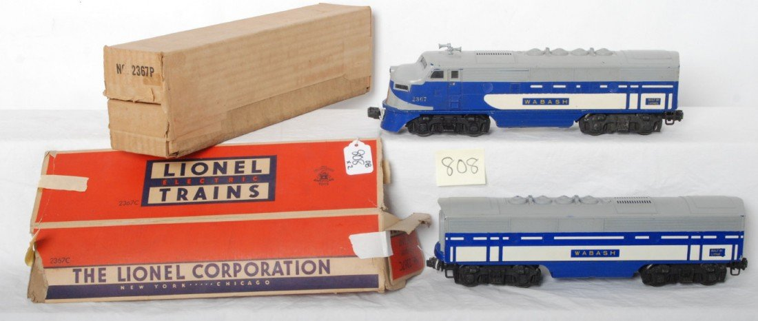 808: Lionel 2367P and 2367C Wabash F3 A-B units in OB