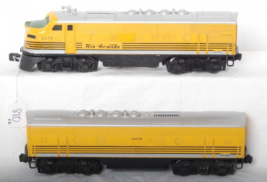 810: Lionel 2379P and 2379C Rio Grande F3 A-B units