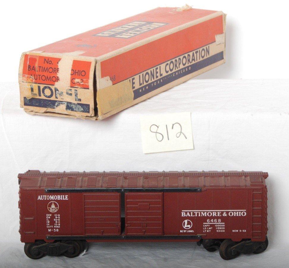 812: Lionel 6468 Baltimore and Ohio Tuscan boxcar in OB