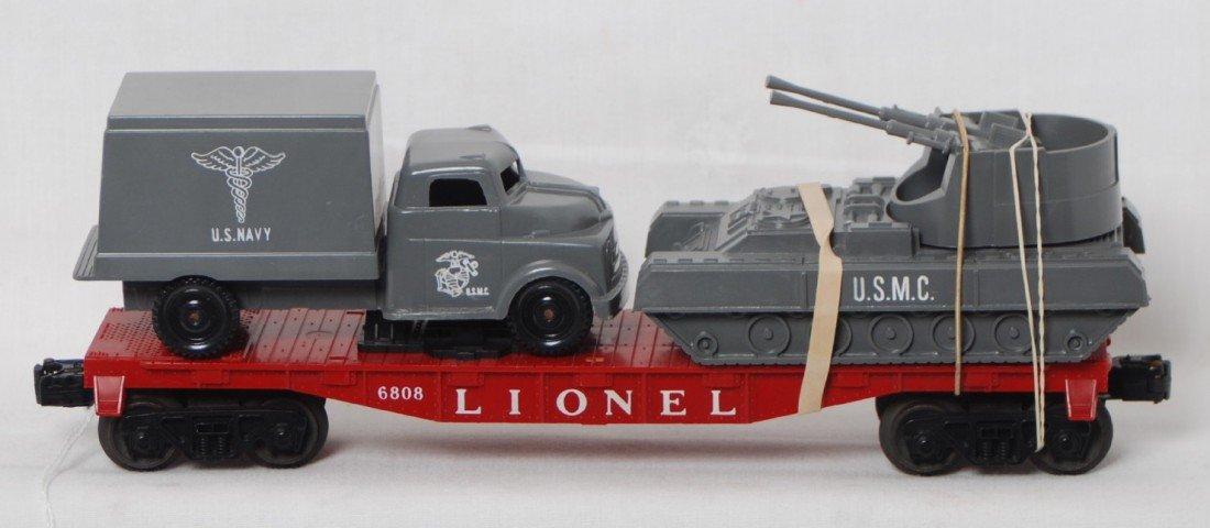 814: Lionel 6808 flatcar w/military loads