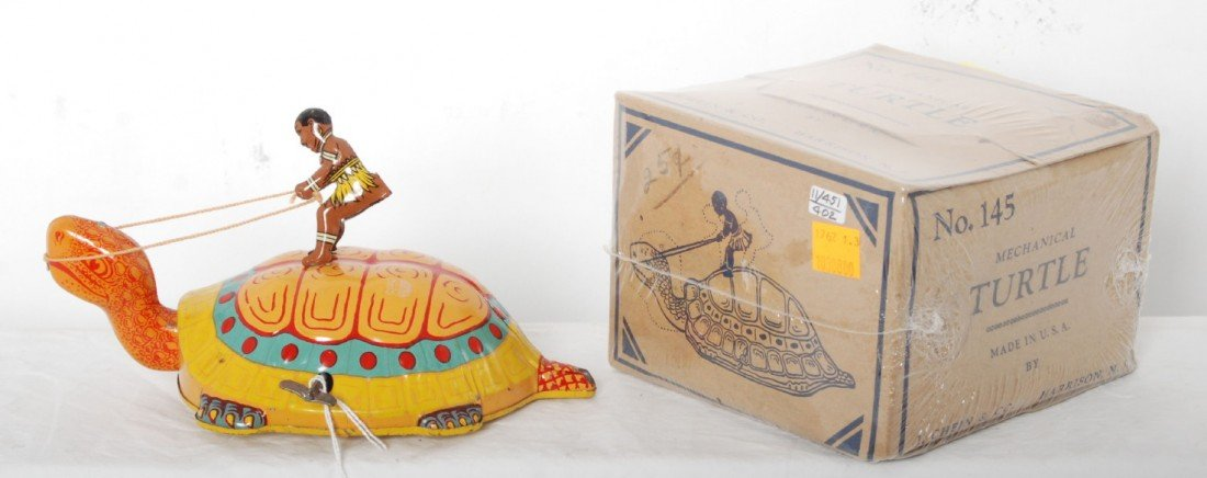 823: J. Chein No. 145 Mechanical Turtle w/rider in OB