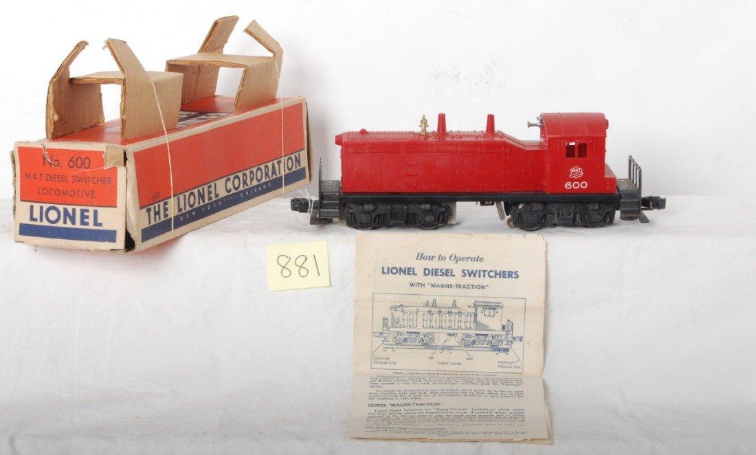881: Lionel 600 MKT diesel switcher loco in OB w/insert