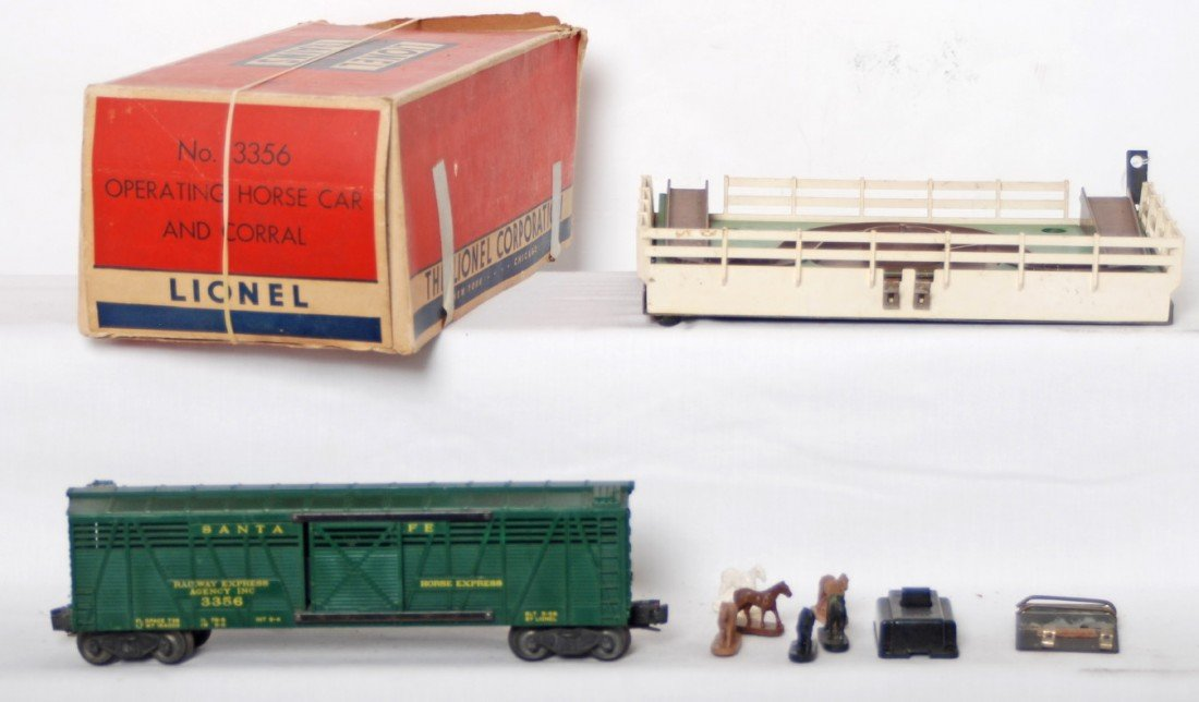 21: Lionel 3356 operating horse car and corral in OB