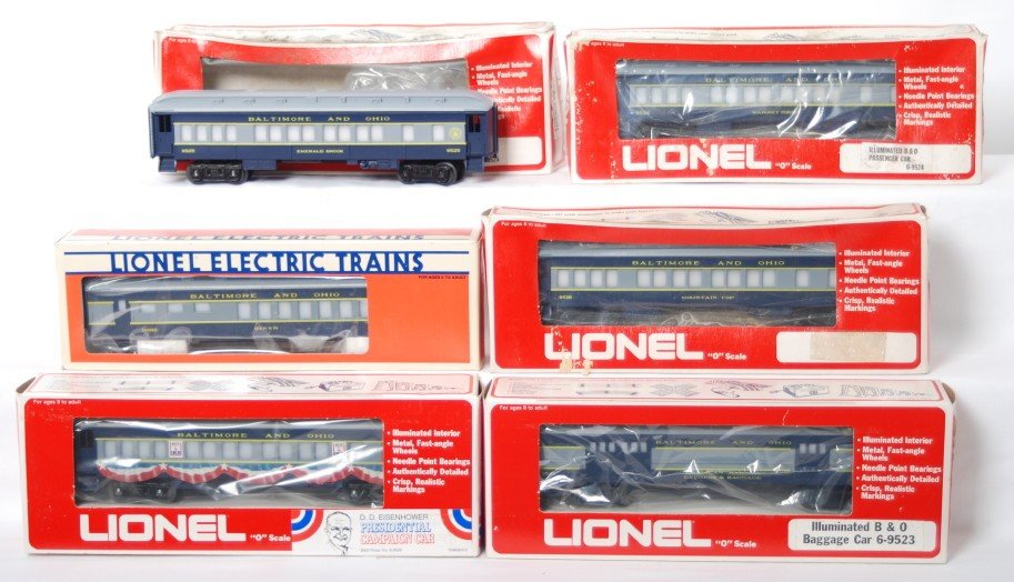 190: 6 Lionel Baltimore and Ohio pass cars 9525 19010,