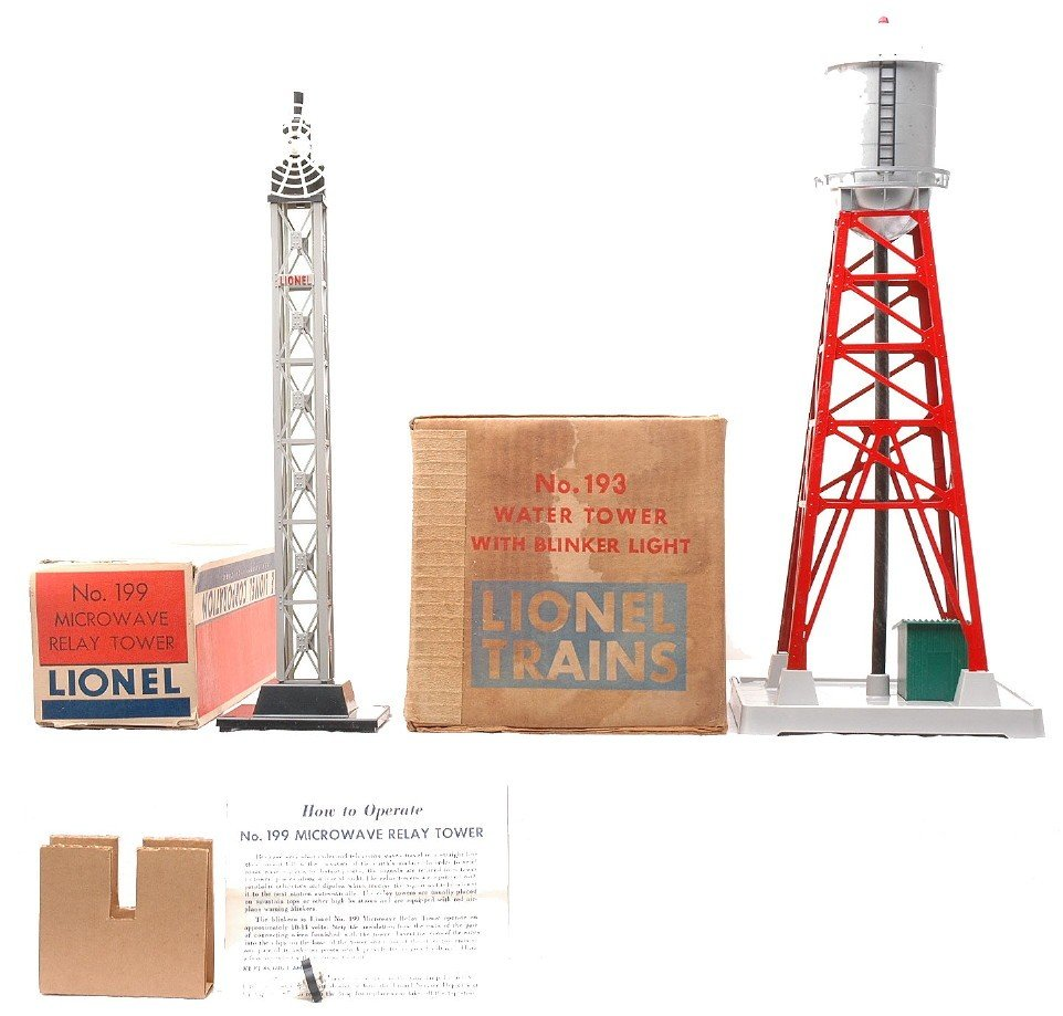 7: Lionel 199 Microwave Tower 193 Water Tower OBs