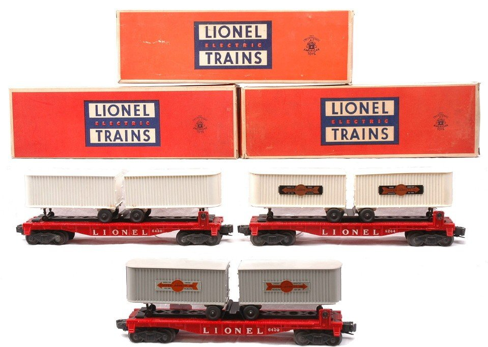 15: Lionel three 6430 Flatcars with Vans LN OBs