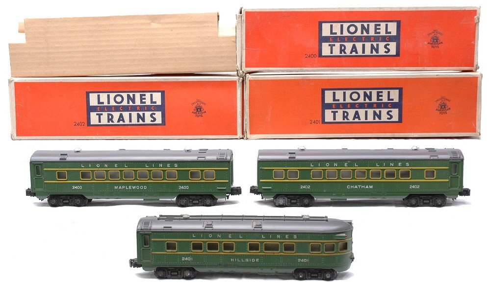 16: Lionel Green/Gray Pass Cars 2400 2402 2401 OBs