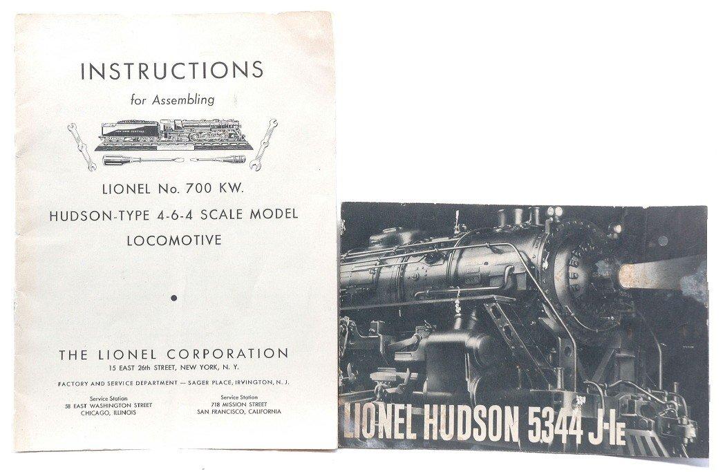 229: Lionel Instructions Booklets for 700KW & Hudson