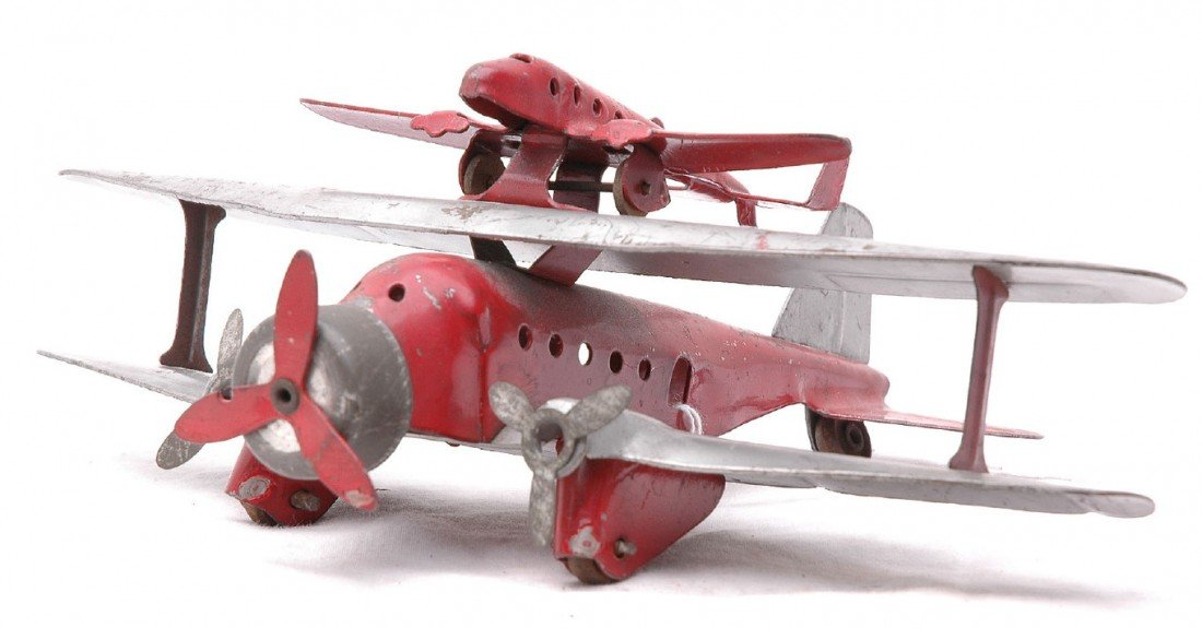 391: Marx Piggy Bank Tri-Motor Red and Silver Biplane