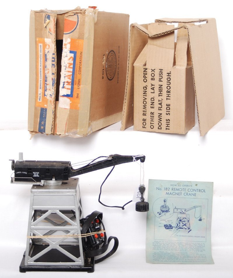 801: Lionel 182 remote control magnet crane w/contr. in