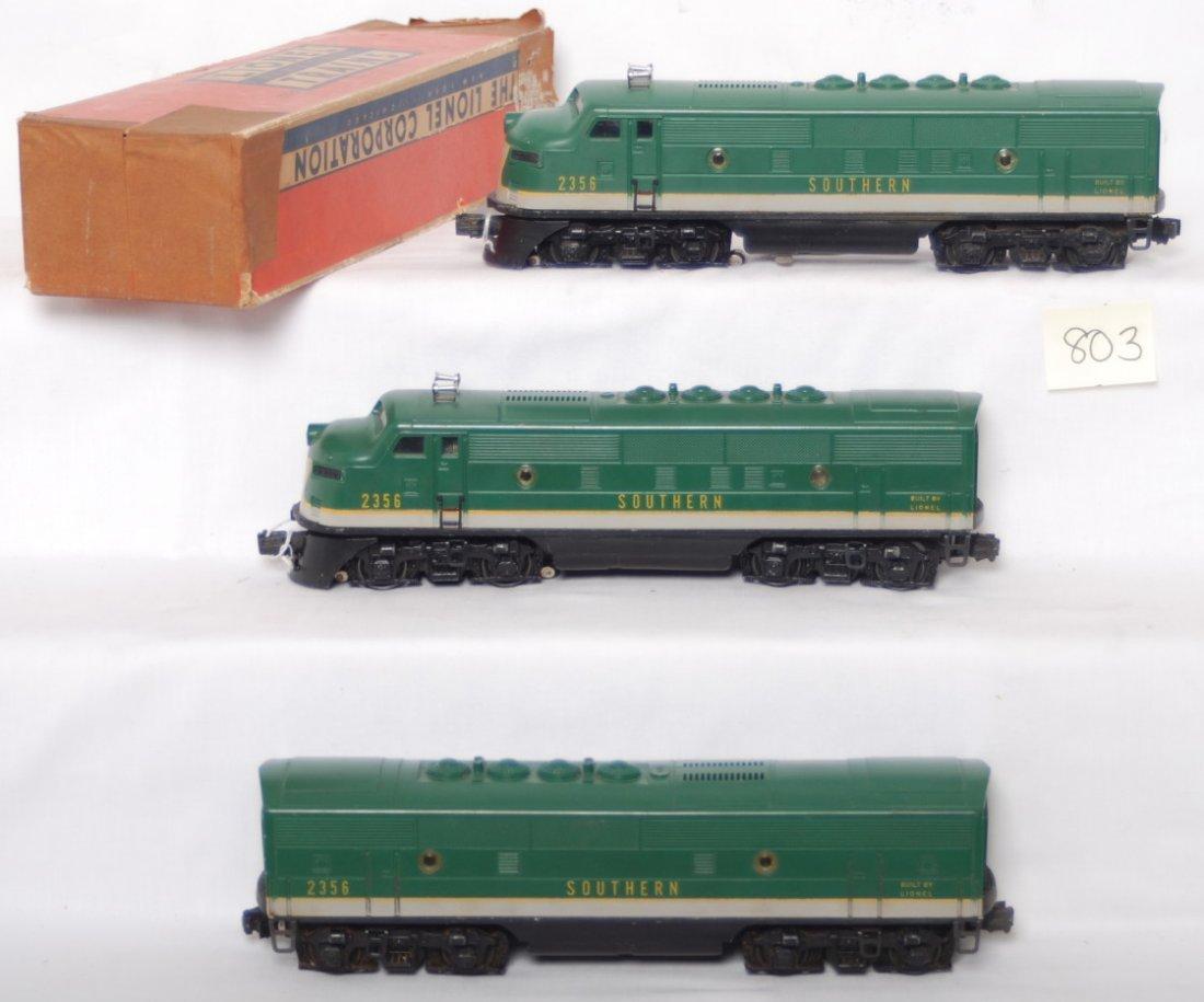 803: Lionel 2356 Southern A-B-A F3 diesel units w/one O