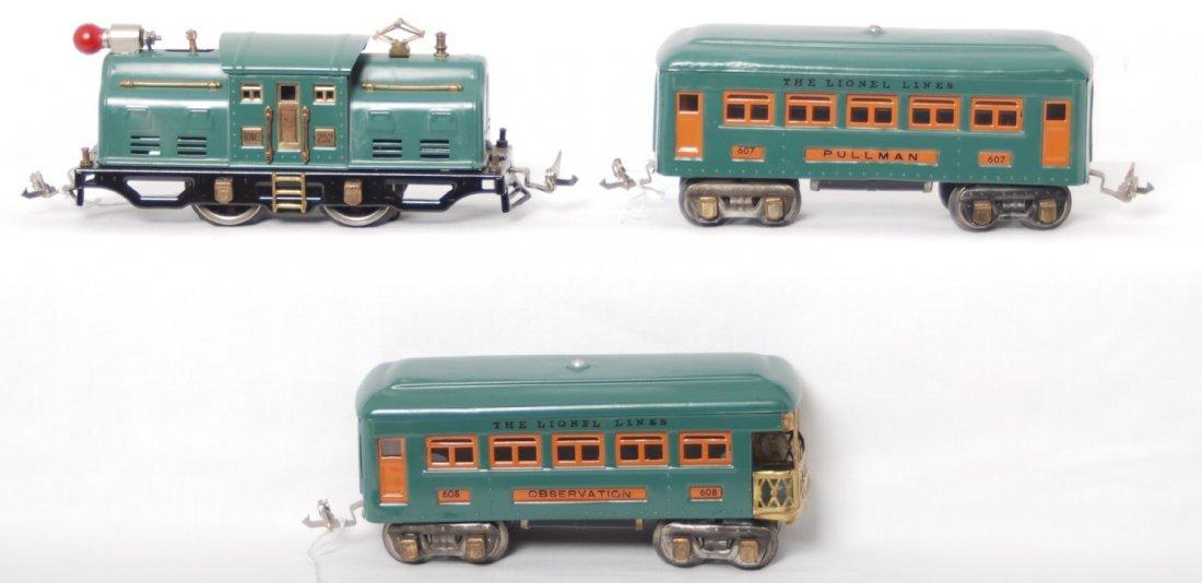 3: Lionel 252 electric loco, 607 Pullman and 608 observ