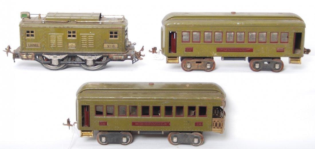 5: Lionel No. 8 electric loco, 337, 338 passenger cars