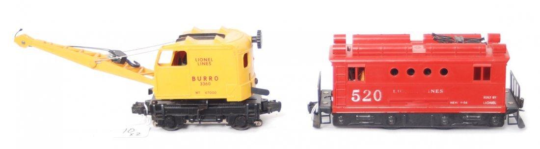10: Lionel 520 switcher and 3360 Burro crane