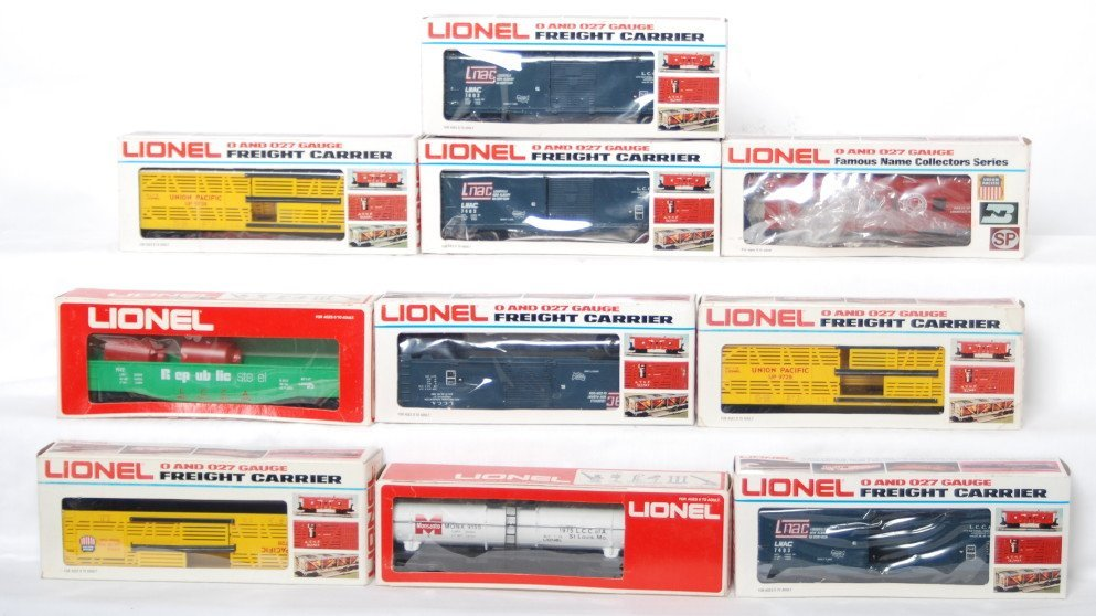 13: 10 LCCA freight cars 7403, 9728, 9142, etc