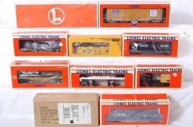 10 Lionel Freight Cars 16689, 52293, 16718, Etc