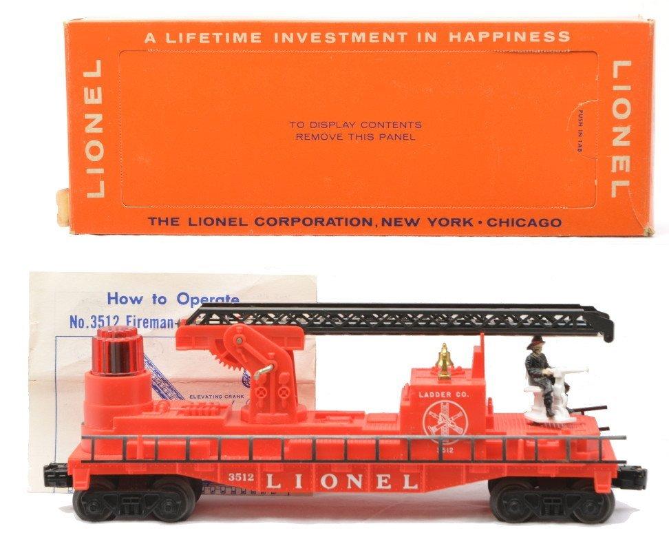 1: Lionel 3512 Operating Fireman & Ladder Car LN OB