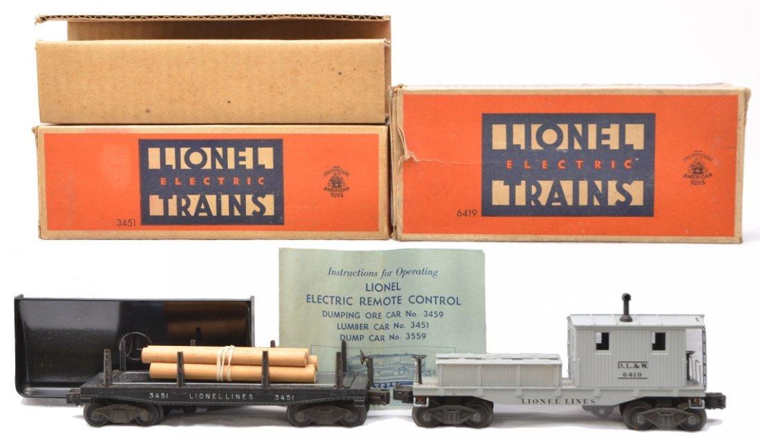 3: Lionel 3451 Lumber Car  6419 Work Caboose OBs