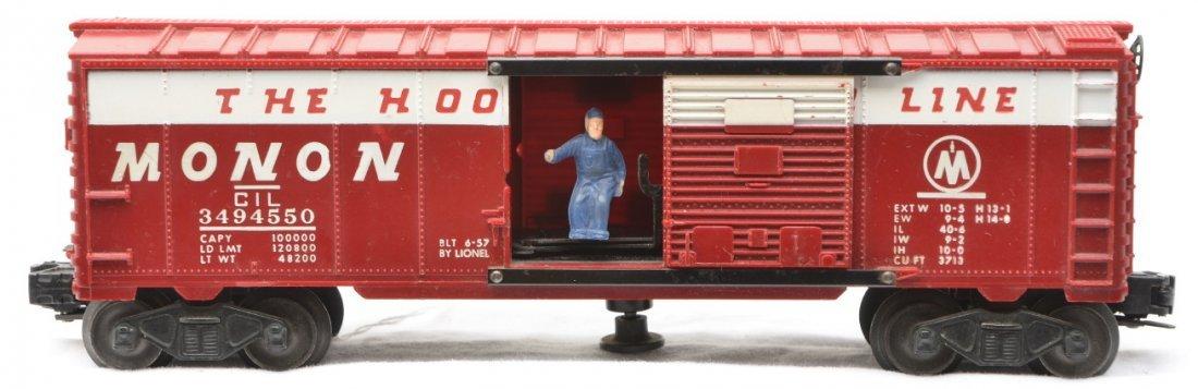 22: Lionel 3494-550 Monon Operating Boxcar