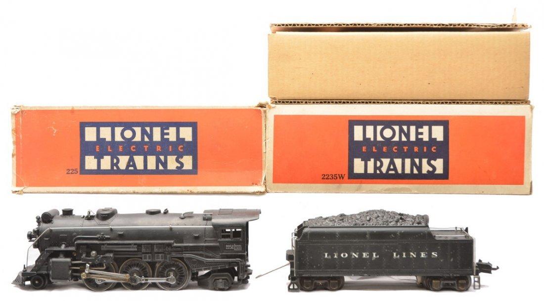 74: Lionel 225E Black Loco 2235W Tender OBs
