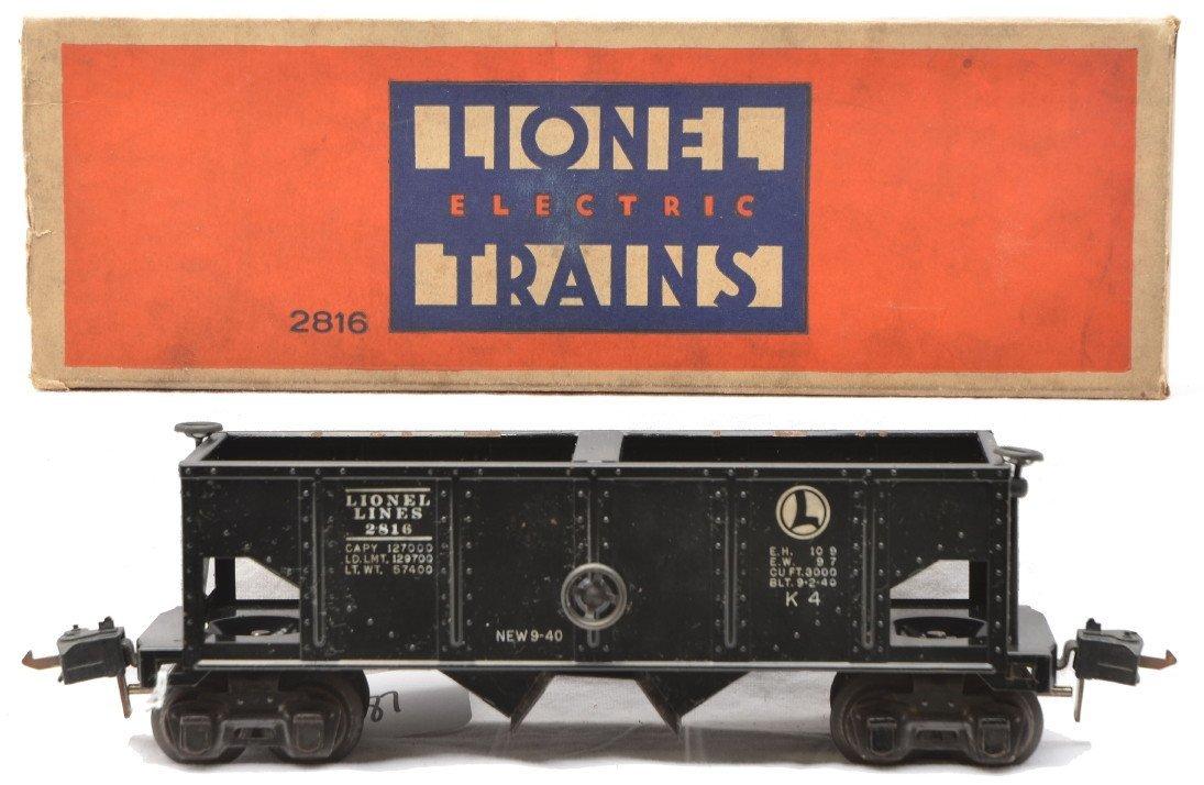 87: Lionel 2816 Black Rubber Stamped Coal Car OB
